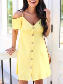Yellow Patchwork Single Breasted Condole Belt Off Shoulder Sweet Mini Dress