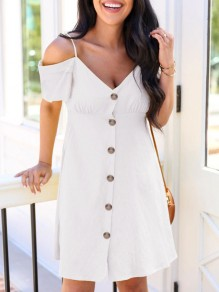 White Patchwork Single Breasted Condole Belt Off Shoulder Sweet Mini Dress