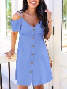 Blue Patchwork Single Breasted Condole Belt Off Shoulder Sweet Mini Dress
