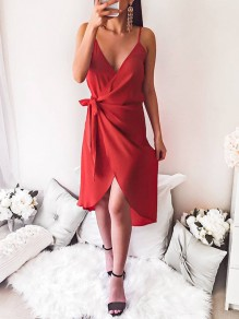 Red Wrap V-neck Spaghetti Strap Sashes Cocktail Party Ladeies Elegant Mini Dress