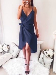 Navy Blue Wrap V-neck Spaghetti Strap Sashes Cocktail Party Ladeies Elegant Mini Dress