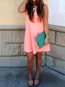 Pink Cut Out Vest Fashion Casual Solid Summer Women Mini Dress