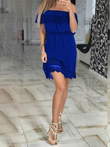 Blue Lace Pleated Off Shoulder Sweet Elegant Party Maxi Dress