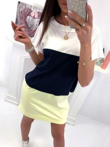 Yellow Tie Back Bodycon Comfy Hit Color Going out Mini Dress