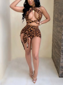 Brown Leopard Print Halter Neck Cut Out Two Piece Knot Irregular High-Low Party Clubwear Mini Dress
