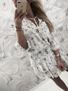 White Flora Cut Out Ruffle Bodycon Lace-up Going out Mini Dress