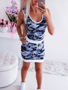 Blue Camouflage Drawstring Ttrendy Bodycon Comfy Going out Mini Dress
