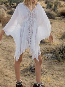 White Lace V-neck Sheer Beach Cover Up Sunscreen Loose Women Summer Mini Dress