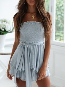 Light Blue Patchwork Belt Ruffle Tassel Bandeau Elegant Mini Dress