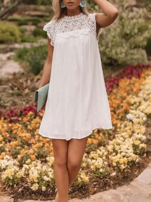 White Patchwork Cut Out Lace Sleeveless Elegant Mini Dress