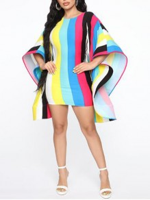 Blue-Yellow Rainbow Striped Ruffle Backless Dolman Sleeve Banquet Party Mini Dress