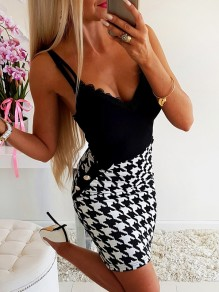 Black Patchwork Lace Backless Ttrendy Going out Mini Dress