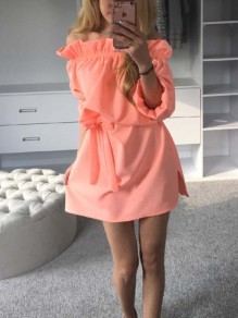 Orange Sashes Off Shoulder Bodycon 3/4 Sleeve Going out Mini Dress