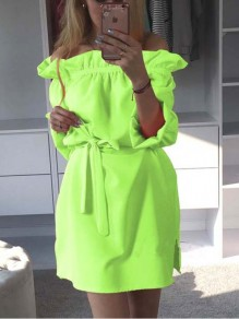 Green Sashes Off Shoulder Bodycon 3/4 Sleeve Going out Mini Dress