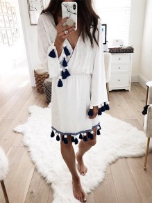 White Floral Fashion Comfy Going out One Piece Midi Dress