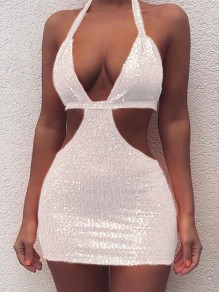 White Sequin Cut Out Halter Neck Backless Sparkly Clubwear Party Mini Dress
