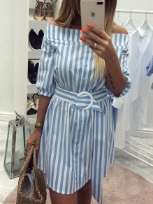 Light Blue Gingham Belt Buttons Off Shoulder Elbow Sleeve Fashion Mini Dresses