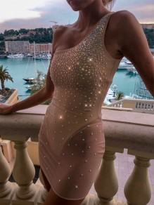 Beige Patchwork Backless Asymmetric Shoulder Jeweled Clubwear Bodycon Sparkly Fashion Mini Dress