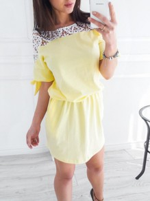 Yellow Lace Fashion Sweet Comfy One Piece mini dress