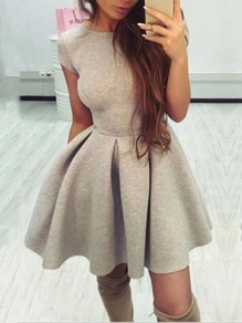 Silver Backless Bodycon Comfy Lace-up Ttrendy Fashion Mini Dress