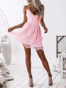 Pink Patchwork Lace Backless Spaghetti Straps V-neck Going out Mini Dress