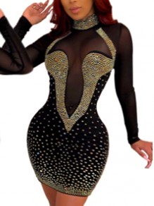 Black Mosaic Rhinestone Sparkly Bodycon Banquet Clubwear Elegant Party Mini Dress