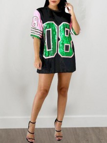 Black 08 Letter Sequin Half Sleeve Coachella Outfits Jersey Oversized Casual Mini Dress
