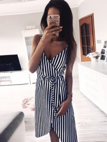 Navy Blue Striped V-neck Sleeveless Fashion Mini Dress