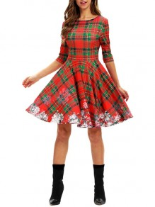 Red Plaid Buffalo Checkered Snowflake Pleated Homecoming Party Christmas Maxi Dress
