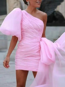 Pink Lace Fashion One Piece Cocktail Party mini dress