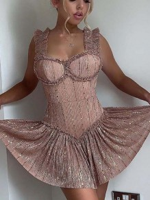 Golden Patchwork Sequin Pleated Sparkly Glitter Birthday Homecoming Party Mini Dress