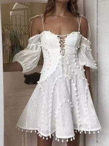 White Grenadine Ball Off Shoulder Pleated Lace-up Cute Homecoming Party Mini Dress