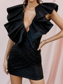 Black Ruffle Bodycon V-neck Party Mini Dress