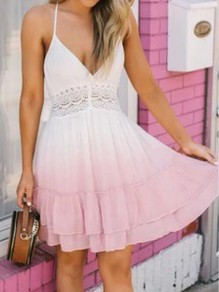 Pink-White Cascading Ruffle Gradient Spaghetti Strap Backless Crochet Skater Bohemian Mini Dress