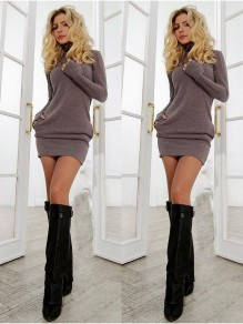 Khaki Fashion One Piece Casual mini dress