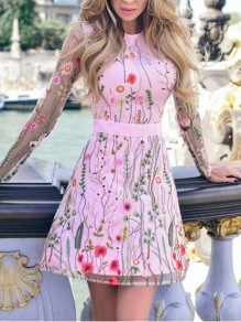 Pink Patchwork Grenadine Embroidery High Waisted Mexican Elegant Skater Party Mini Dress