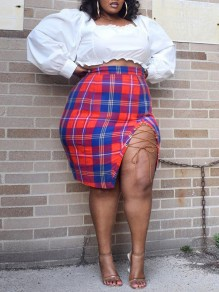 Red Plaid Lace-up Two Piece Plus Size Puff Sleeve High Waisted Homecoming Party Mini Dress