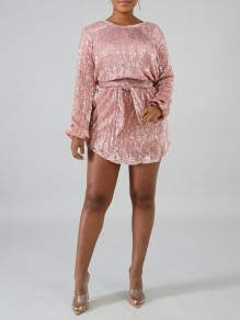 Champagne Patchwork Sequin Belt Sparkly Glitter Birthday Long Sleeve Party Mini Dress