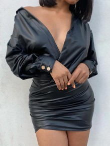Black PU Leather Off Shoulder Pleated Latex Vinly Bodycon NYE Party Mini Dress