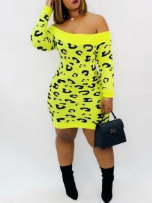 Neon Yellow Leopard Off Shoudler Backless Bodycon Sweater Mini Dress