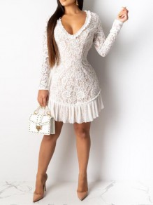 White Patchwork Lace Ruffle Cut Out Backless Deep V-neck Bodycon Banquet Party Mini Dress