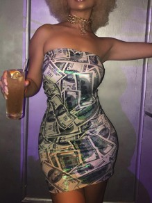 White Money Dollar Bill Print Off Shoulder Bodycon Party Mini Dress