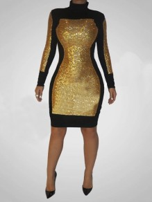 Golden Patchwork Sequin Bodycon Sparkly Glitter Birthday Long Sleeve Party Mini Dress