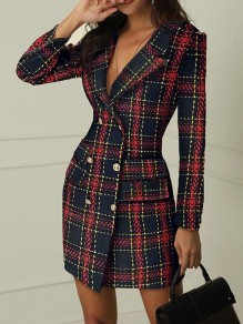 Red Patchwork Buttons Pockets Flannel Long Sleeve Fashion Mini Dress