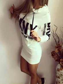 White Floral Monogram Pockets Bodycon Lace-up Long Sleeve Going out Mini Dress