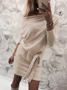 Apricot Pockets Asymmetric Shoulder Sashes Bodycon Going out Mini Dress