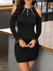 Black Patchwork Rhinestone Cut Out Bodycon Cocktail Party Mini Dress