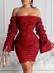 Red Off Shoulder Pleated Bell Sleeve Bodycon Party Mini Dress