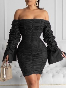 Black Off Shoulder Pleated Bell Sleeve Bodycon Party Mini Dress