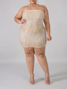 Apricot Patchwork Sequin Tassel Off Shoulder Bodycon Sparkly Glitter Birthday Plus Size Party Mini Dress